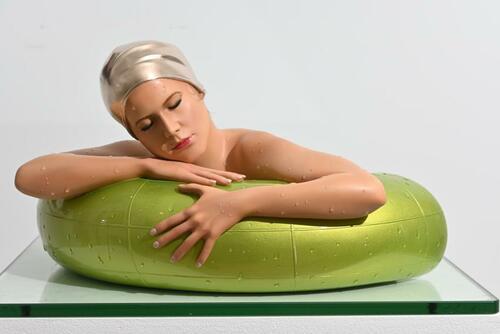 Miniature Serena w/ Lime Green Tube w/ Champagne Gold Leaf Cap