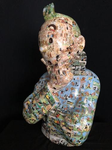 """TINTIN Penseur - """"L'ordre et le chaos"""" Congo  (75 cm)"""