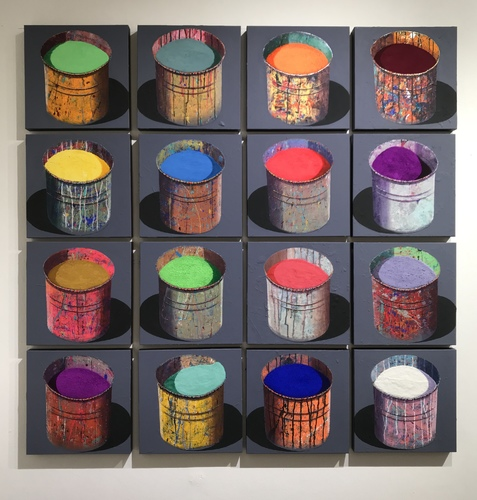 COMPOSITION 16 POTS D'ARTISTE