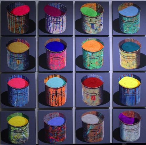 Composition de 16 pots d'artistes (3)