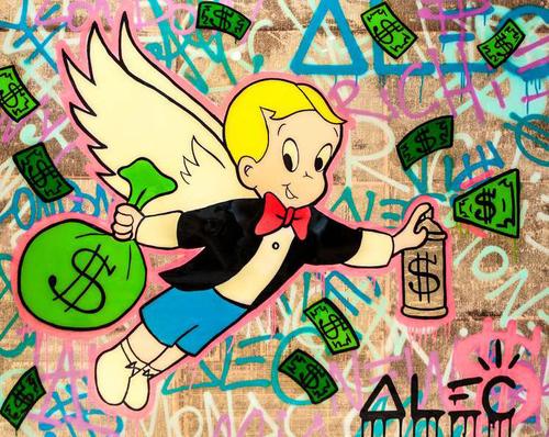 Richie wings $ bag spraying gold can