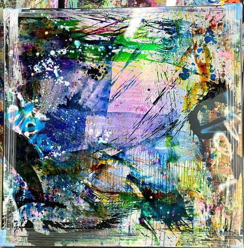 Abstrait bleu vert, 2020