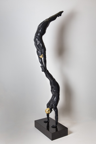 Miniature Double Diver bronze black w/24K gold leaf